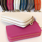 Women Double Zipper Long Wallet Clutch Wristlet Card Coin Holder Purse Leather 3