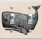 Vintage Blue Whale Illustration Decorative Double/Triple Switch Plate