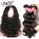 Indian Body Wave 360 Lace Frontal Closure with 3 Bundles Indian Human Hair Wefts