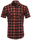 FashionOutfit Men COTTON Plaid Checkered Short Sleeve Pockets Button Down Shirt