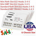 AZDENT Dental Orthodontic Metal Bracket Braces Mini/Standard Roth/MBT022 Hook345