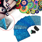 10x Nail Art Stamp Stencil Stamping Template Plate Set Tool Stamper Design Kit