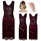 Vintage 1920s Flapper Dress Gatsby Beaded Deco Clubwear Fringe Party 20s Costume