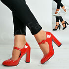 New Womens Ladies Ankle Strap Court Pumps Patent High Block Heels Shoes Size Uk