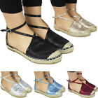 New Womens Ladies Ankle Strap Buckle Summer Espadrilles Shoes Sandals Flats Size