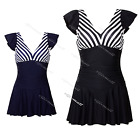 Striped Beach Sport Tankini Women Swimdress Swim suit Bathing Skirt 6 8 10 12 14
