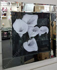 New Black & white lily flower pictures with liquid art,crystals & mirror frames