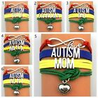 Fashion Infinity Love Autism Dad MOM AUNT Awareness Leather Handmade Bracelet