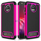 For Motorola Moto Z2 Play Slim Shockproof Hard Armor Phone Case + Tempered Glass