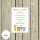 SAFARI Personalised Invitations Christening Baptism Naming Day Boy or Girl
