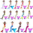 Women Kids Girls Mermaid Tail With Monofin Swimming Costumes Swimmable Flippers