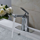 """Deck Mounted Chrome Finish Basin Faucet Waterfall Sink Mixer Tap W/ 6"""" Plate"""