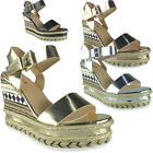 Womens Ladies Buckle Ankle Strap Espadrilles Platform Shoes Wedge Sandals Size