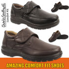Mens Comfort Fit Shoes Touch Fastening Slip On Shoes Sizes UK 7 8 9 10 11 12