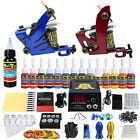 Complete Starter Tattoo Kit 2Machine Set Guns 14 Inks Power Supply needles TK210