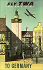Germany Fly TWA  Vintage Poster Airline Tourism Travel Print FREE Us Postage
