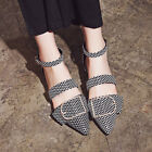 Europe luxury pointed toe Womens Flats shoes Buckle Sandals Party shoes big size