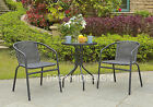 Bistro PE Rattan Set 2 Chair and Dining Table Garden Furniture Outdoor Curved