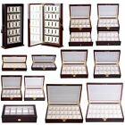 Wood&Leather 10 12 20 Slots Watch Box Display Glass Top Jewelry Case Organizer M