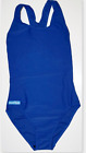 New Ladies Plain Blue Swimming Costume Swimsuit Racer Back UK 10-22 Fast Postage