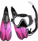Ladies Premium Snorkel Set Package - Silicone Mask and snorkel Performance Fins
