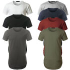 Mens Longline curved hem T-shirt Top Street fashion Long Body Tee Tall Elongated