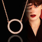 2017 Trendy Micro Paved Crystal Round Circle Pendant Necklace For Women 2 Color