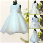 Kids Whites Christmas Wedding Party Bridesmaid Flower Girls Dresses AGE 1 - 12Y