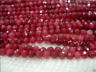 New 4MM 15inches Natural Brazilian Ruby Faceted Round Loose Beads Gemstone