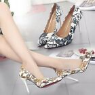 Womens Pointed Toe Stilettos Slip on Printing High Heels Shoes Party Work Formal