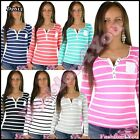 Women's Striped Blouse Everyday Casual Ladies Top Striped One Size 6,8,10 UK