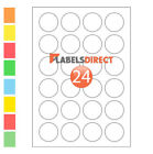 Premium 40mm Round A4 Labels. 24 per Sheet Sticky Self Adhesive Printer Labels