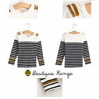 Kids Todder Cotton Long Sleeve GOLD BLACK Stripes Smart Top Cute  (2-7Y)