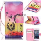 New Printed Flip Stand Card Wallet Leather Cover Case w/Wrist Strap For Phones