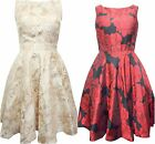 New ex Quiz Floral Satin 50s Style Skater Prom Dress Gold or Black/Red UK8 - 18