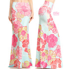 Floral Pastel Mint Sublimation high waist maxi long skirt S/M/L/XL/1XL/2XL/3XL