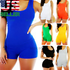 Внешний вид - Women Lady Sleeveless Short Romper Jumpsuit Bodysuit Stretch Leotard Top Blouse