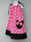 Minnie Mouse Applique Girl Pillowcase Dress Size 1T 2T 3T Mult-Color Hand Made
