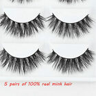 5 Pairs 100% Real Mink Fur 3D False Eyelashes Cross Wispy Fake Eye Lashes New