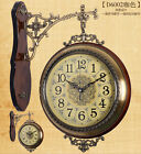 Antique Wall Clock Garden Hallway Double Sided Outdoor Station Wall Mount Clock