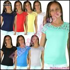 Women's Embroidered Top Ladies Casual Everyday T-Shirt One Size 8,10,12,14 UK