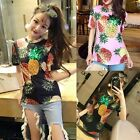 Fashion Women Sequins Short Sleeve T-shirt Pinapple Printed Cotton Tops Blouse