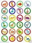 24 round edible cake topper DINOSAUR  -  Wafer paper or Icing