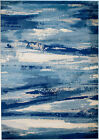 MODERN BLUE ABSTRACT AREA RUG; APROX SIZE OPTIONS 2'X3' 2'X7' 4'X5' 5'X7' 8'x11'