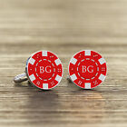 Personalised Initials Silver Plated Poker Chip Cuff Links