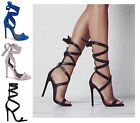 Womens Ladies Tie Up Ankle Wrap Around Strappy Stiletto Heel Party Sandals Shoes
