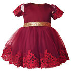 Pageant Kids Girls Floral Flower Short Sleeves Sequin Ball Gown Lace Tutu Dress