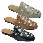 AnnaKastle Womens Metal Studded Backless Loafer Flat Mule Slippers
