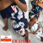 UK Womens Holiday Mini Playsuit Ladies Jumpsuit Summer Beach Dress Size 6 - 16