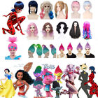 Kids/Adults Moana Trolls Harley Quinn Rem/Ram Cosplay Wigs Halloween Party Prop